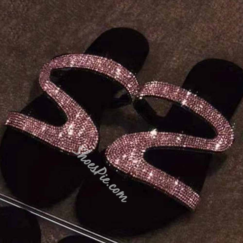 Shoespie Sexy Flip Flop Flat With Rhinestone PVC Slippers