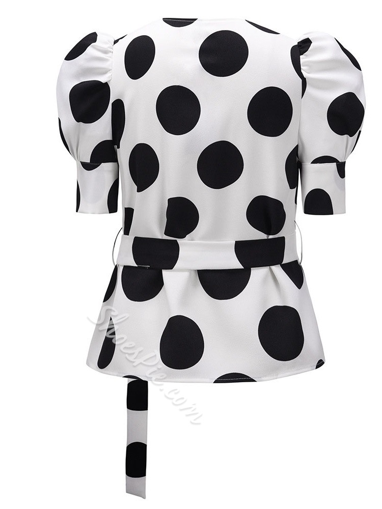 Puff Sleeve Polka Dots Print Half Sleeve V-Neck Women's Blouse