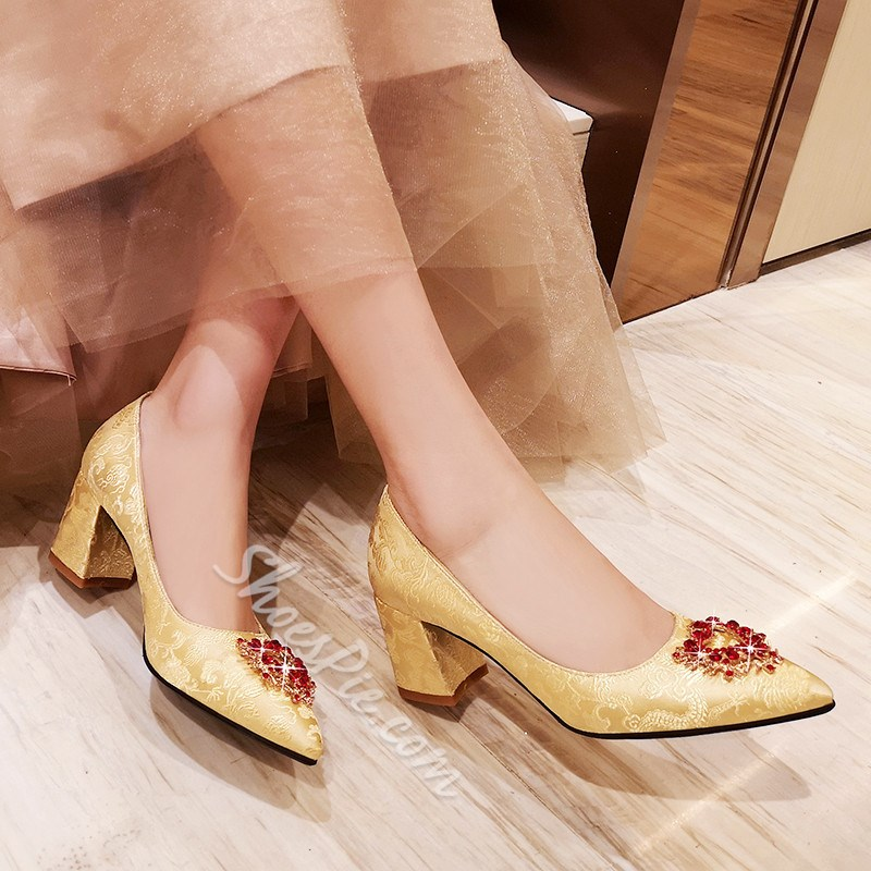 Shoespie Sexy Chunky Heel Pointed Toe Slip-On Thin Shoes