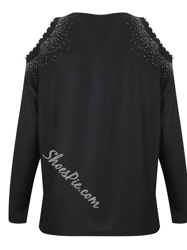 Bead Long Sleeve Round Neck Black Women's Sweater