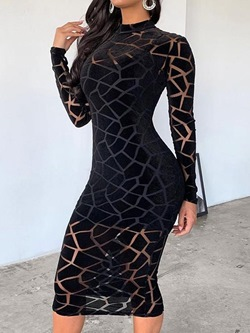 Shoespie Sexy Black See-Through Mid-Calf Long Sleeve Women's Dress