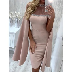 Sequins Long Sleeve Above Knee Plain Party/Cocktail Women's Dress