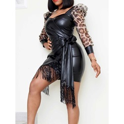 Sexy Black Leopard Fringe Above Knee Lace-Up Women's Dress
