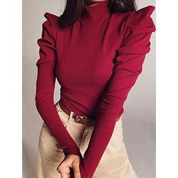 Red Casual Pleated Regular Thick Slim Women's Sweater