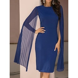 Knee-Length Round Neck Long Sleeve Bodycon Women's Dress