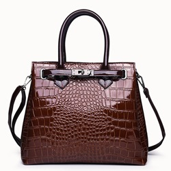 Shoespie PU Embossing Alligator Rectangle Tote Bags