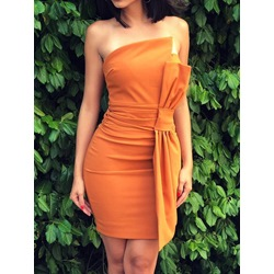 Off Shoulder Above Knee Sleeveless Bowknot Bodycon Women's Dress