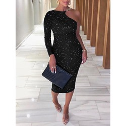 Long Sleeve Sequins Mid-Calf One-Shoulder Women's Dress