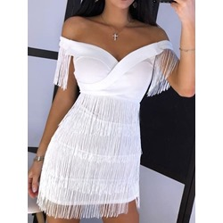 V-Neck Short Sleeve Tassel Off Shoulder Women's Dress