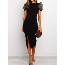 Round Neck Short Sleeve See-Through Women's Dress