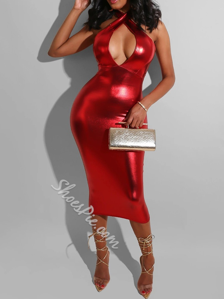 Sexy Backless Party/Cocktail Sleeveless Mid-Calf Halter Women's Dress