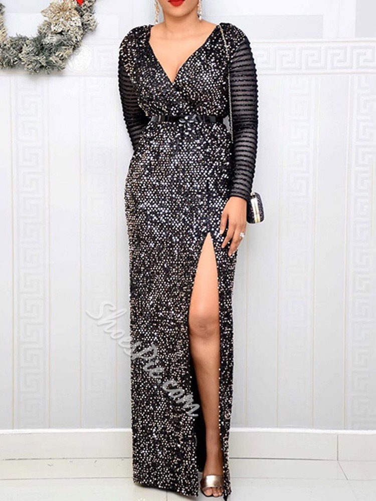 Sexy Sequins V-Neck Long Sleeve Pullover Plus Size Women's Black Dress