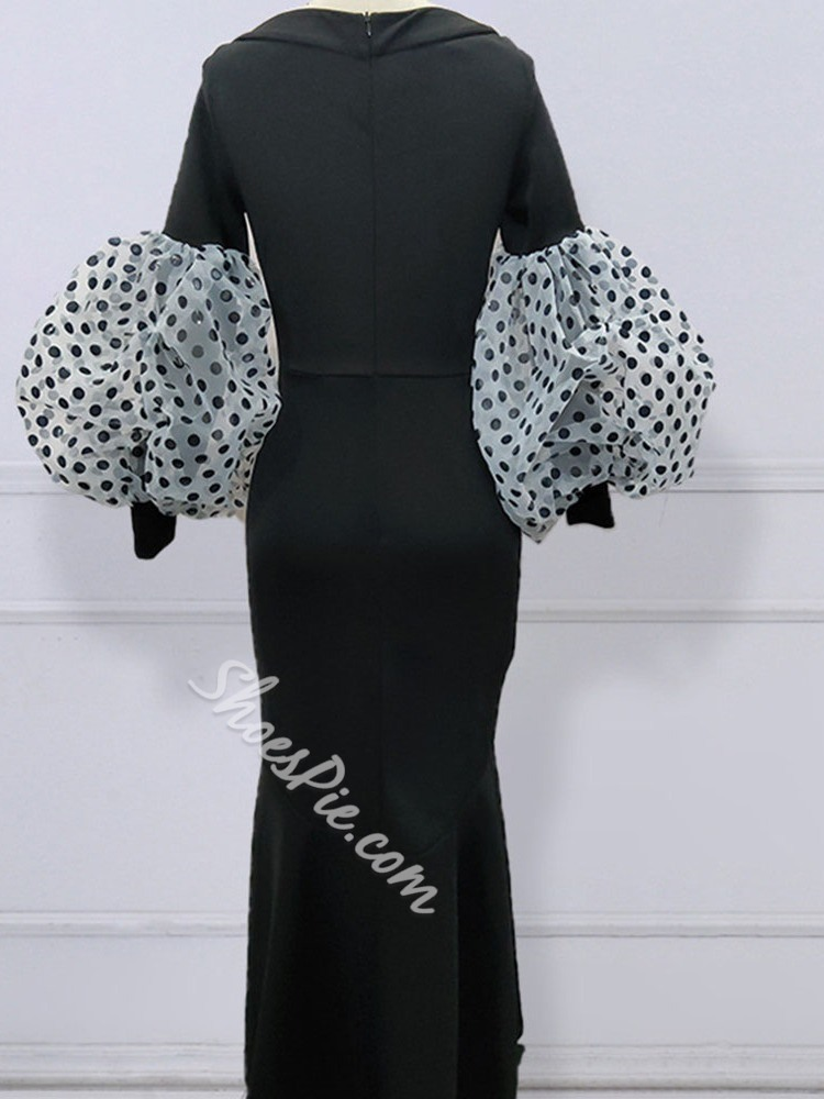 Black Pleated Polka Dots Ankle-Length Round Neck Spring Women's Dress