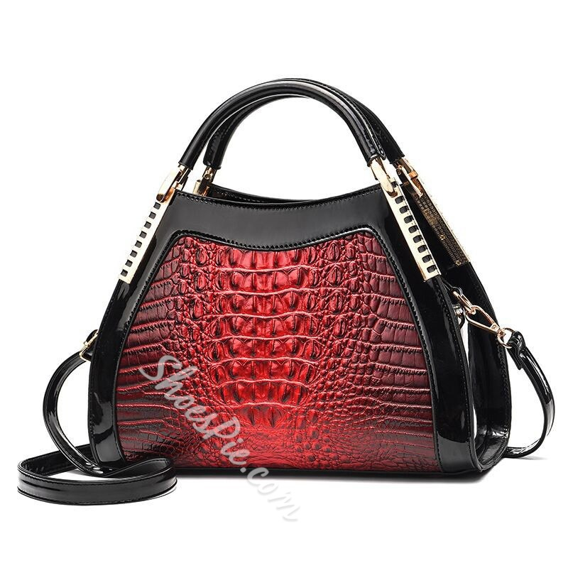 Shoespie Embossing Alligator PU Tote Bags