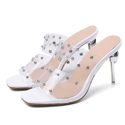 Shoespie Trendy Stiletto Heel Slip-On Rhinestone Casual Slippers