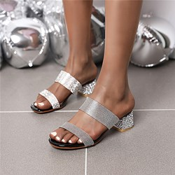 Shoespie Sexy Rhinestone Chunky Heel Slip-On Summer Slippers