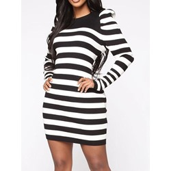 Stripe Round Neck Long Sleeve Above Knee Pullover Women's Dress