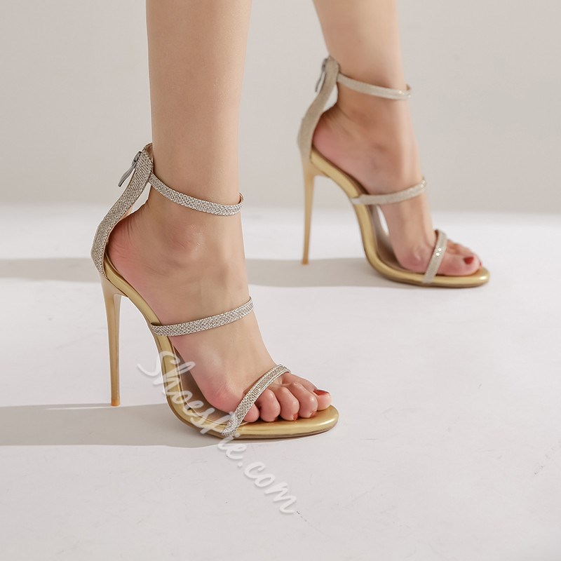 Shoespie Sexy Heel Covering Stiletto Heel Open Toe Zipper Sandals
