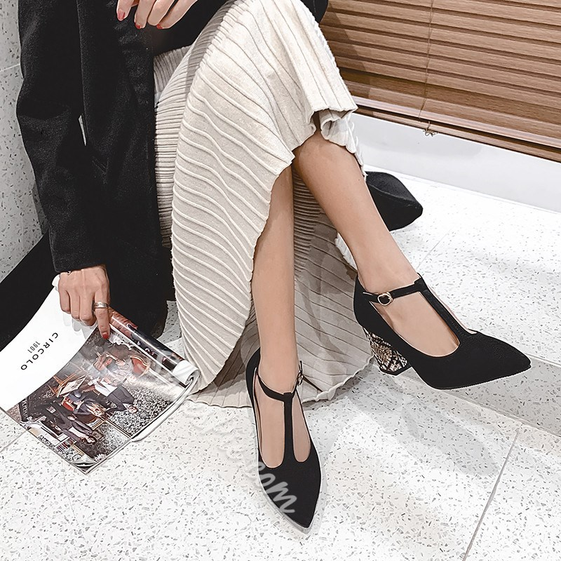 Shoespie Stylish Buckle Pointed Toe T-Shaped Buckle Sexy Thin Shoes