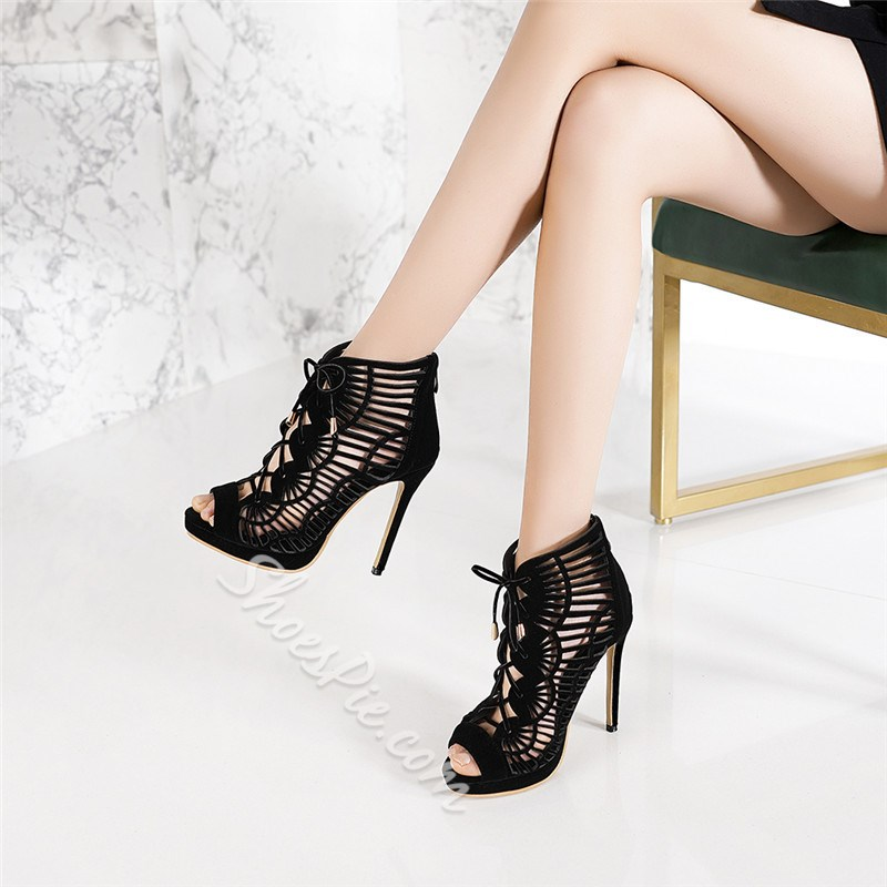Shoespie Trendy Peep Toe Hollow Zipper Banquet Thin Shoes