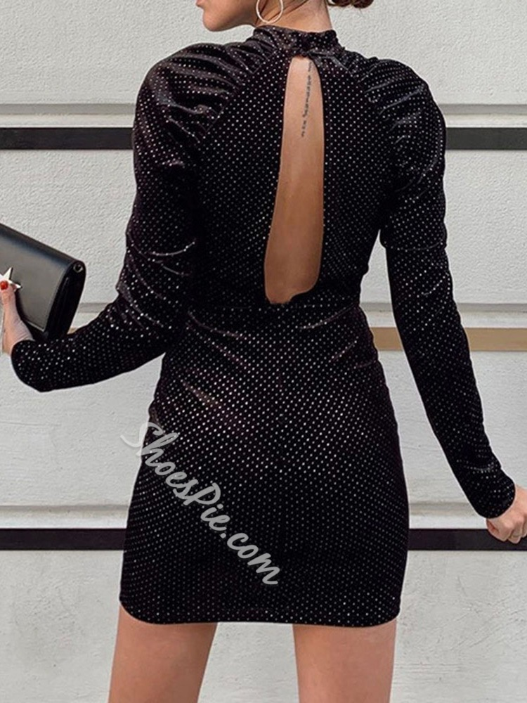 Black Sexy Long Sleeve Round Neck Backless Women's Dress