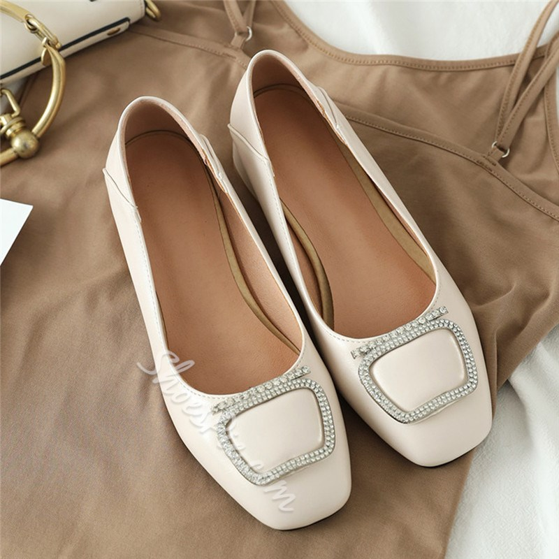 Shoespie Trendy Square Toe Slip-On Rhinestone Casual Thin Shoes