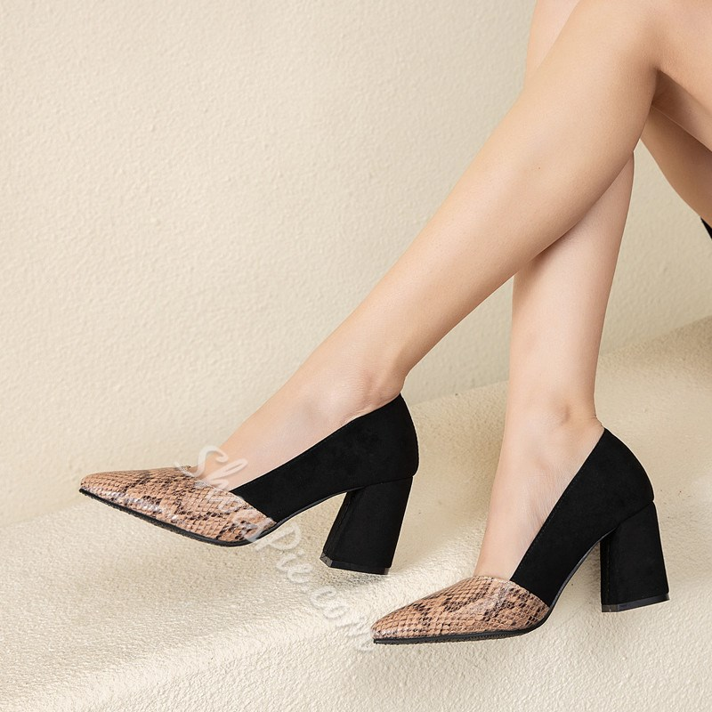 Shoespie Sexy Slip-On Serpentine Pointed Toe Patchwork Thin Shoes