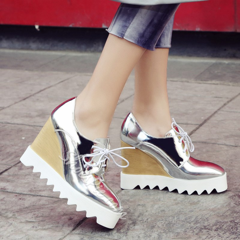 Shoespie Stylish Round Toe Lace-Up Wedge Heel Low-Cut Upper Thin Shoes