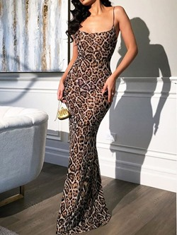 Leopard Spaghetti Strap Floor-Length Sleeveless Bodycon Women's Dress