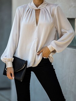 Light Apricot Concise V-Neck Pleated Women's Blouse