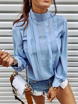 Blue Elegant Stand Collar Pleated Long Sleeve Women's Blouse