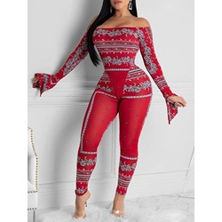 Sexy Red Print Casual Pencil Pants Women's Two Piece Sets
