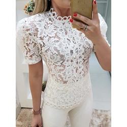 Ladylike Stand Collar Lace Bead Mesh Short Sleeve Women's Blouse