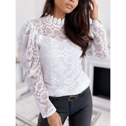 Sweet Long Sleeve Stand Collar White Women's Blouse