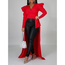 Puff sleeve Red Swallowtail V-Neck Women's Blouse