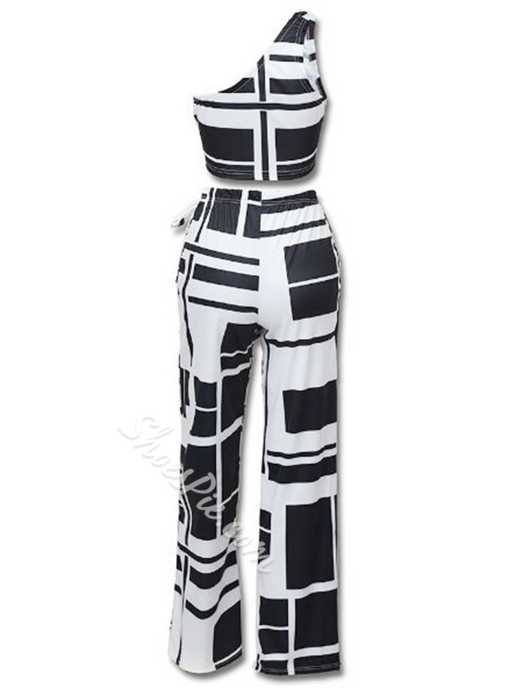 Black & white Casual Lace-Up Wide Legs Women's Two Piece Sets