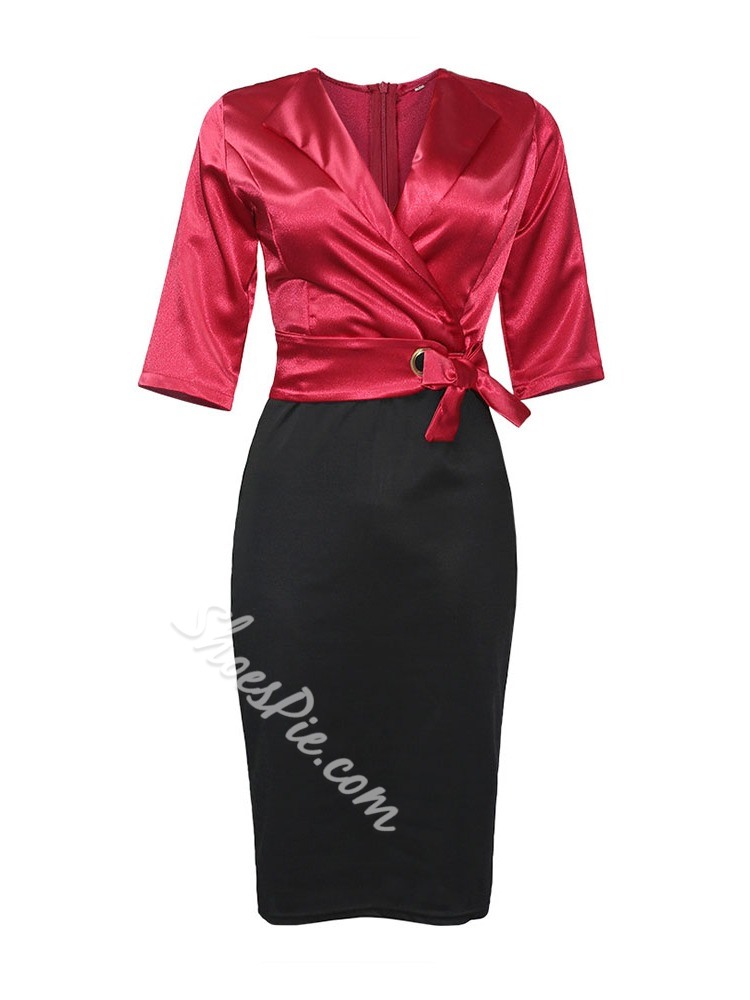 Casual Bowknot Three-Quarter Sleeve Notched Lapel Women's Dress