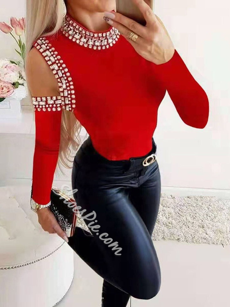Rhinestone Red Casual Long Sleeve Women's Sweater