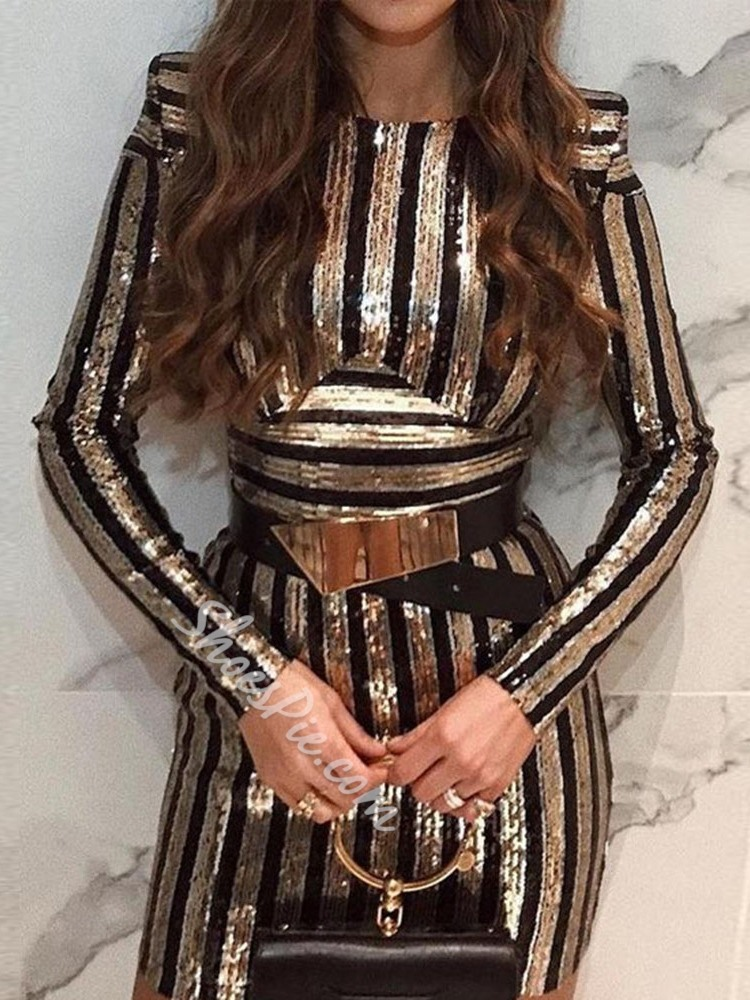 Sequins Stripe Long Sleeve Round Neck Bodycon Women's Dress