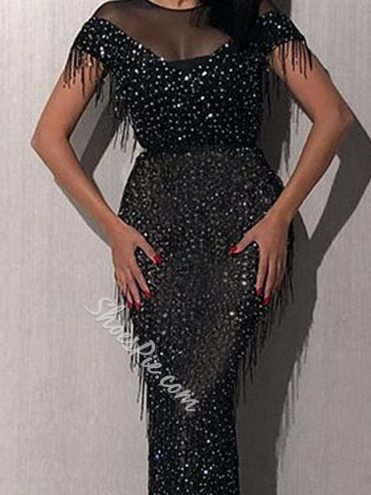 Sexy Tassel Sequins Mesh Floor-Length Round Neck Women's Dress
