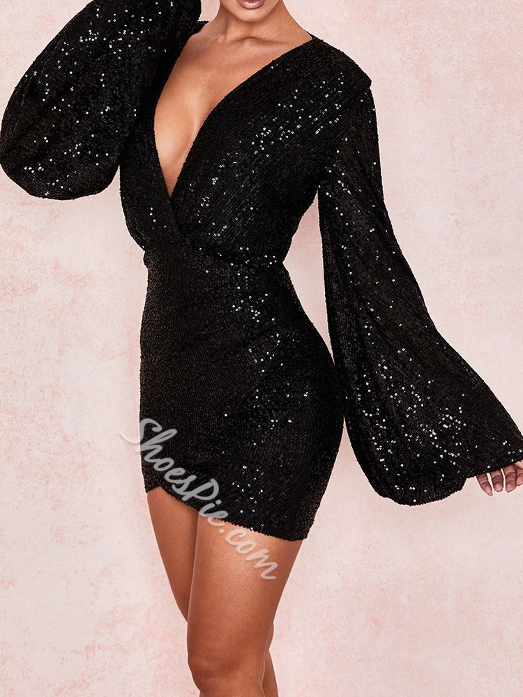 Black Elegant Sequins V-Neck Long Sleeve Women's Dress