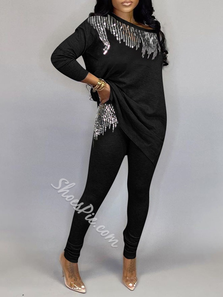 Black Sequins T-Shirt Casual Pullover Women's Two Piece Sets