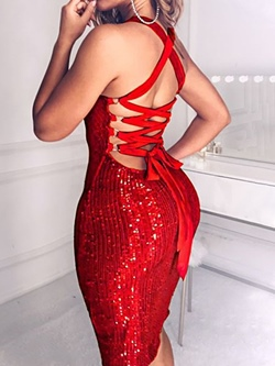 Sexy Red Lace-Up Knee-Length Sleeveless Banquet Women's Dress