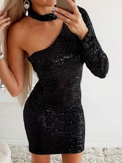 Black Above Knee Sequins Long Sleeve Mid Waist Women's Dress