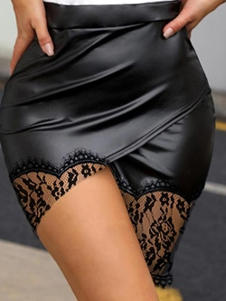 Sexy Lace Black Patchwork Bodycon Women's Skirt