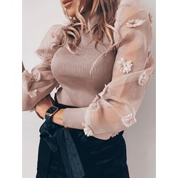 Khaki Puff sleeve Stand Collar Patchwork Women's Sweater