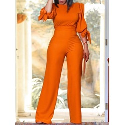 Orange Elegant Plain Wide Legs Women's Two Piece Sets