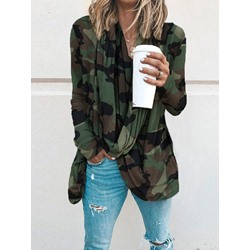 Camouflage Long Sleeve Mid-Length Casual Women's T-Shirt