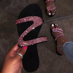 Shoespie Trendy Rhinestone Flip Flop Slip-On Rubber Slippers