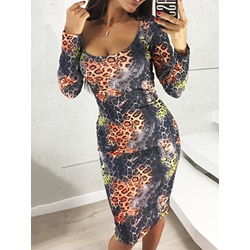 Leopard Orange Long Sleeve Mid-Calf Pullover Women's Dress